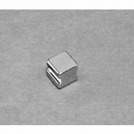 """SB443-IN Neodymium Block Magnet, 1/4"""" length x 1/4"""" width x 3/16"""" thick , with step IN"""