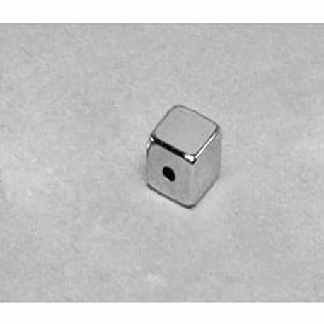 """B444-1 Neodymium Block Magnet, 1/4"""" x 1/4"""" x 1/4"""" (- 1/16"""" hole)"""