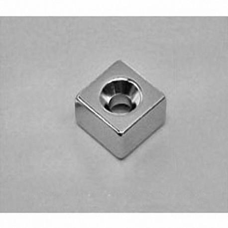 "B884DCS Neodymium Block Magnet, 1/2"" x 1/2"" x 1/4"" thick w/ hole to accept a 6 screw"