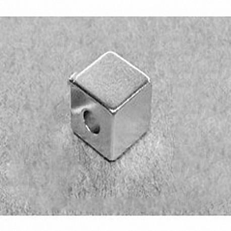 """B888-3 Neodymium Block Magnet, 1/2"""" x 1/2"""" x 1/2"""" (- 3/16"""" hole)"""