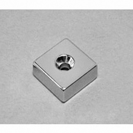 """BCC4DCS Neodymium Block Magnet, 3/4"""" x 3/4"""" x 1/4"""" thick w/ countersunk hole to accept 6 screw"""