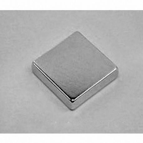 "BX0X03 Neodymium Block Magnet, 1"" x 1"" x 3/16"" thick w/ countersunk holes to accept 6 screws"