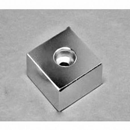 "BX0X08DCB Neodymium Block Magnet, 1"" x 1"" x 1/2"" thick w/ hole to accept a 10 screw"