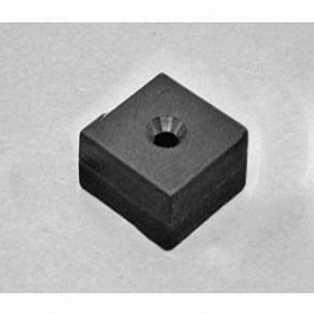 "BX0X08DCSPC Neodymium Block Magnet, 1"" x 1"" x 1/2"" thick w/ hole to accept 8 screws"