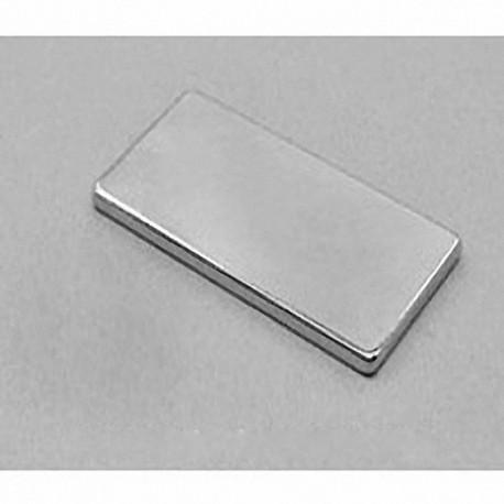 "BY0X02-N52 Neodymium Block Magnet, 2"" x 1"" x 1/8"" thick"