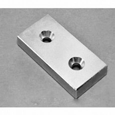 "BY0X04DCS-N52 Neodymium Block Magnet, 2"" x 1"" x 1/4"" thick"