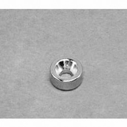 """R622CS-N Neodymium Ring Magnet, 3/8"""" od x 1/8"""" id x 1/8"""" thick with countersunk hole for 4 screw"""
