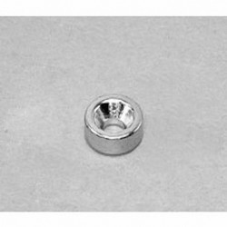 """R622CS-S Neodymium Ring Magnet, 3/8"""" od x 1/8"""" id x 1/8"""" thick with countersunk hole for 4 screw"""