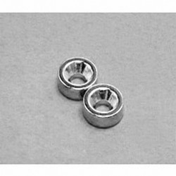 """R622CS-P Neodymium Ring Magnet, 3/8"""" od x 1/8"""" id x 1/8"""" thick with countersunk hole for 4 screw"""