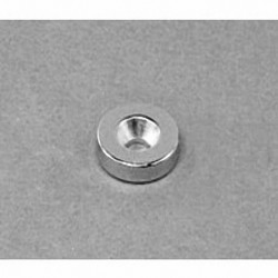 """R822CS-N Neodymium Ring Magnet, 1/2"""" od x 1/8"""" id x 1/8"""" thick with countersunk hole for 4 screw"""