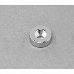 """R822CS-S Neodymium Ring Magnet, 1/2"""" od x 1/8"""" id x 1/8"""" thick with countersunk hole for 4 screw"""