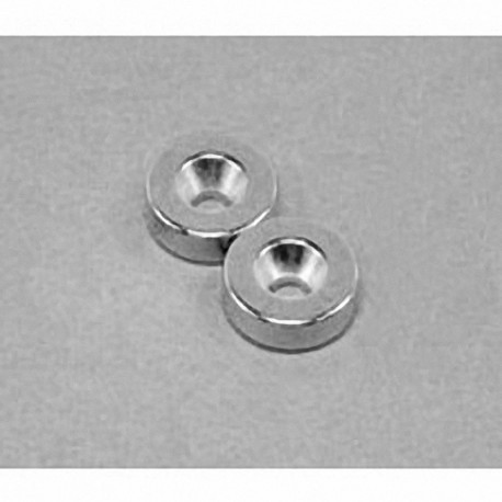 """R822CS-P Neodymium Ring Magnet, 1/2"""" od x 1/8"""" id x 1/8"""" thick with countersunk hole for 4 screw"""