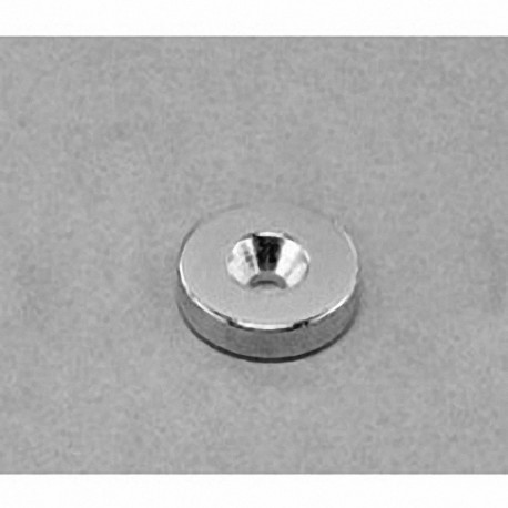 """RA22CS-N Neodymium Ring Magnet, 5/8"""" od x 1/8"""" id x 1/8"""" thick with countersunk hole for 6 screw"""