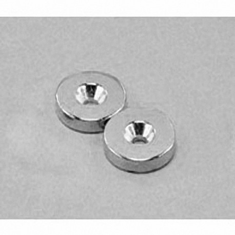 """RA22CS-P Neodymium Ring Magnet, 5/8"""" od x 1/8"""" id x 1/8"""" thick with countersunk hole for 6 screw"""