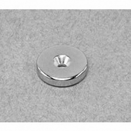 """RC22CS-S Neodymium Ring Magnet, 3/4"""" od x 1/8"""" id x 1/8"""" thick with countersunk hole for 8 screw"""