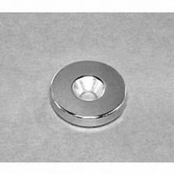 """RE22CS-N Neodymium Ring Magnet, 7/8"""" od x 1/8"""" thick with countersunk hole for 8 screw"""