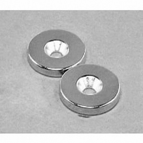 """RE22CS-P Neodymium Ring Magnet, 7/8"""" od x 1/8"""" thick with countersunk hole for 8 screw"""