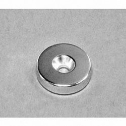 """RX033CS-N Neodymium Ring Magnet, 1"""" od x 3/16"""" thick with countersunk hole for 10 screw"""