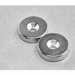 """RX033CS-P Neodymium Ring Magnet, 1"""" od x 3/16"""" thick with countersunk hole for 10 screw"""