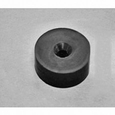 "RX436DCSPC Neodymium Ring Magnet, 1 1/4"" od x 0.221"" id x 0.402"" id x 3/8"" thick w/ hole to accept 10 screws"
