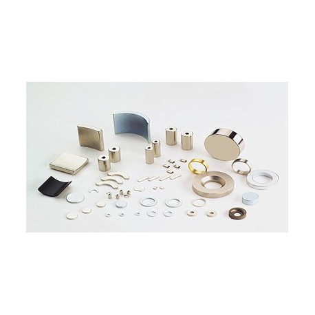 "BX8C4P Neodymium Block Magnet, 1 1/2"" x 3/4"" x 3/8"" thick w/ holes to accept 6 screws"